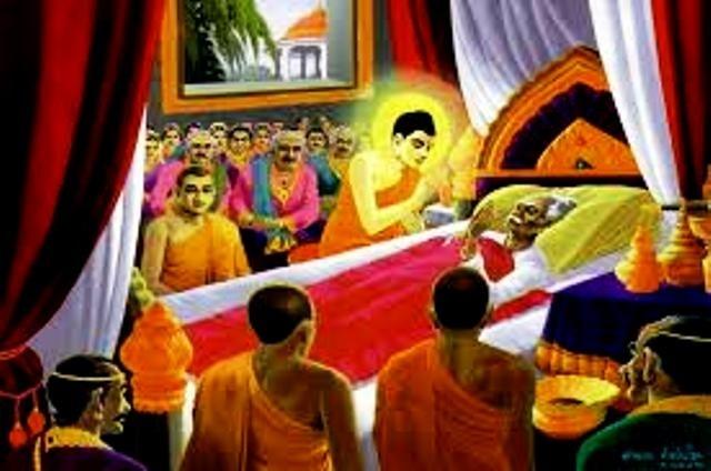 Đức Phật giảng giải cho vua cha Suddhodana về sự vô thường và vô ngã. Nhờ đó, đức vua đã chứng đắc Thánh quả A la hán